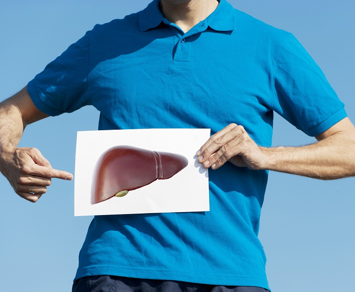 Pointing at liver